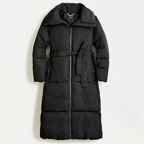 J crew black belted puffer coat with primaloft
